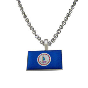 Virginia State Flag Pendant Necklace